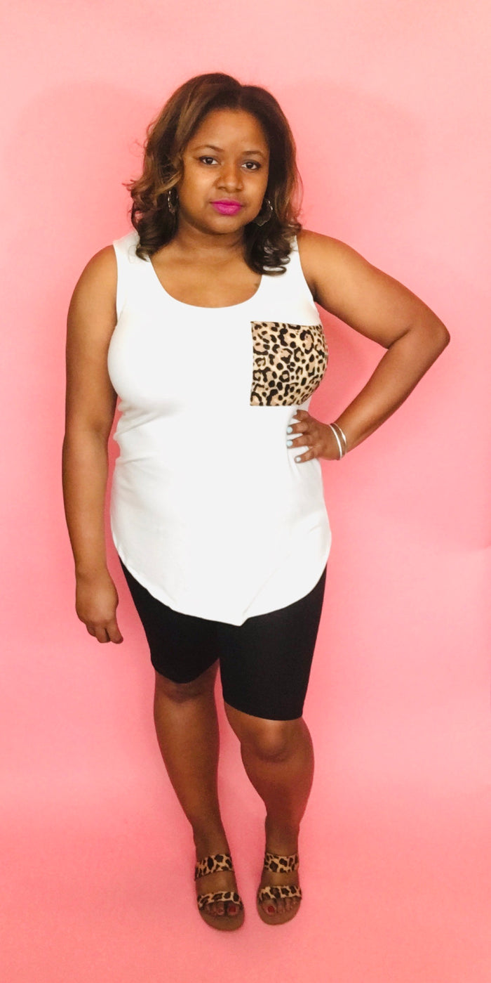 Sleeveless Leopard Pocket Biker Set (Ivory/Black)