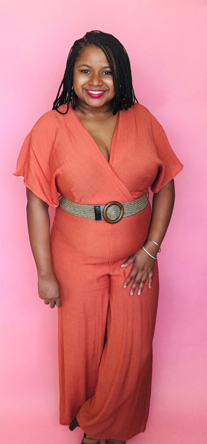 Belted Jumpsuit (Rust)