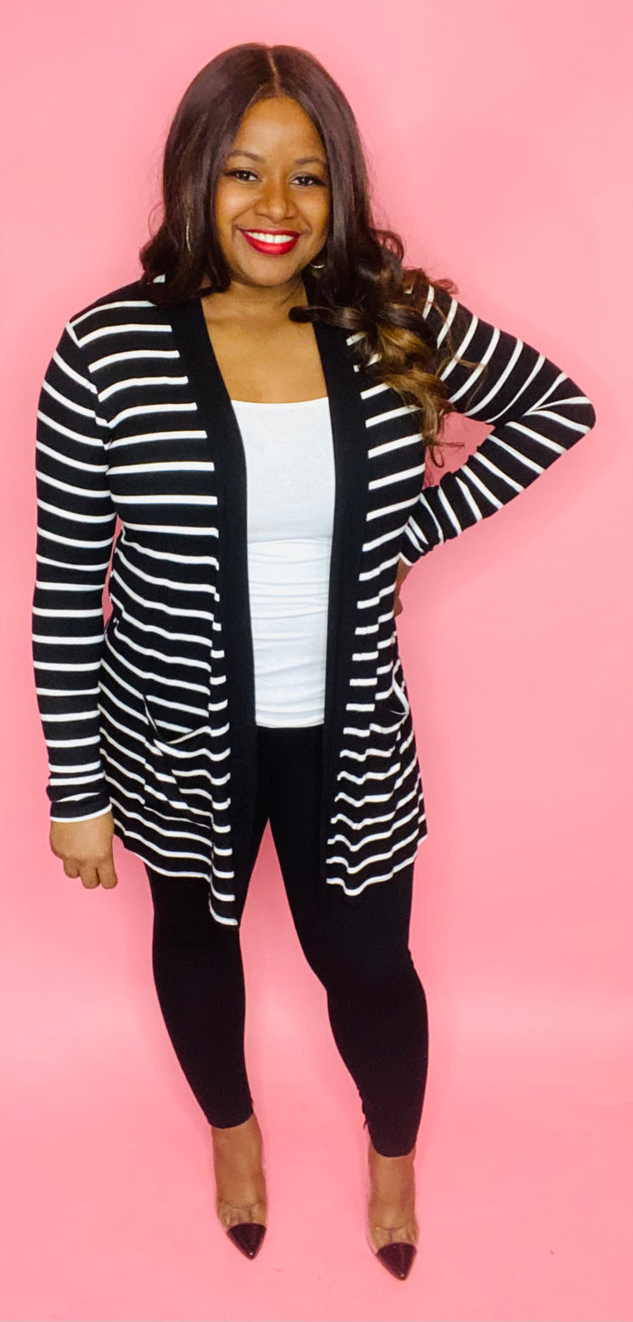 Striped Cardigan Set (Black/White)