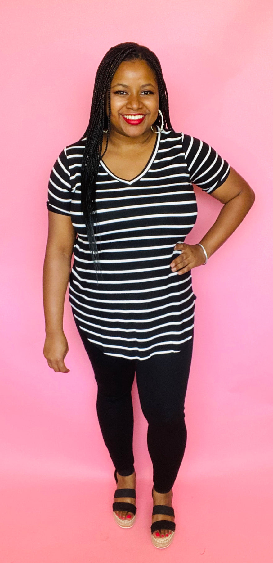V-Neck Striped Tee Set (Black/Ivory)