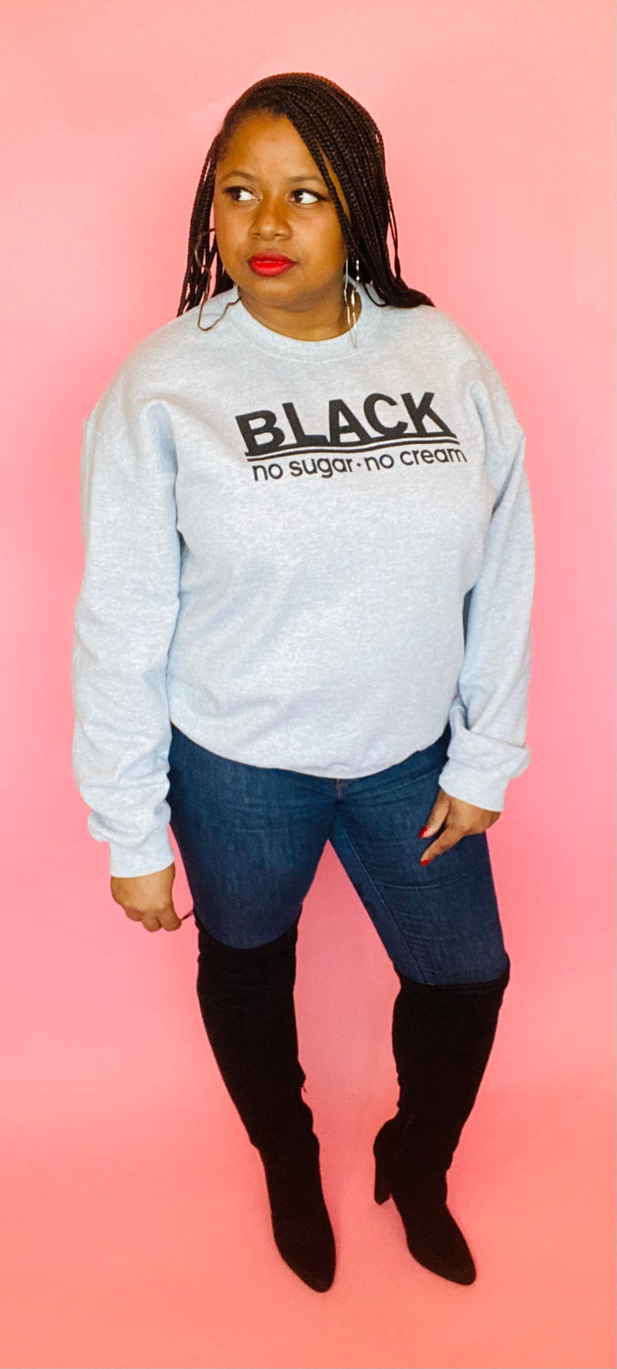 Black, No Sugar No Cream Sweatshirt (Heather Gray)