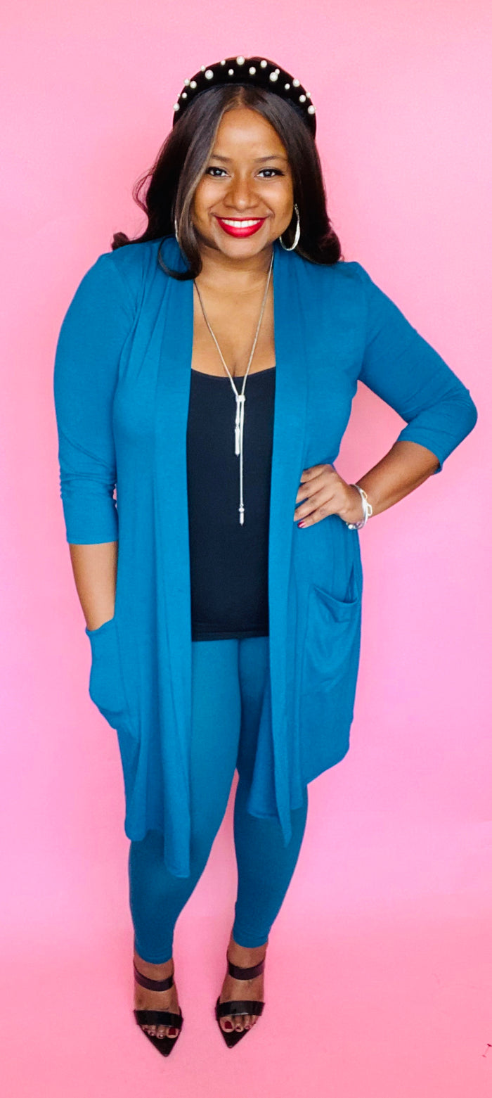 Cardigan Set (3/4 Sleeve) Teal