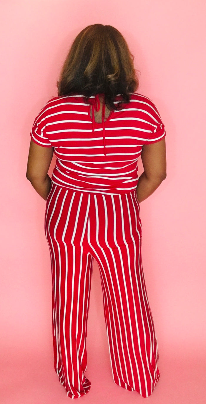 Stripe Me Down Jumpsuit (Red/Ivory)