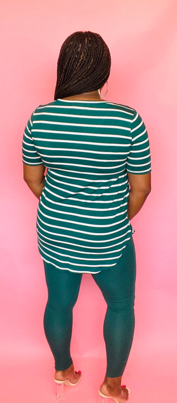 V-Neck Striped Tee Set (Deep Green/Ivory)