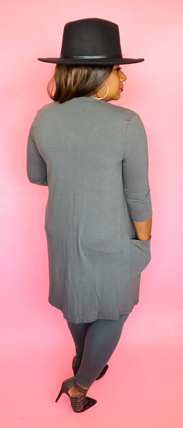 Cardigan Set (3/4 Sleeve) Ash Grey