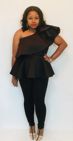 Shoulder Flare Peplum Top