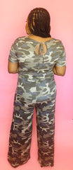 Short sleeve Camo Jumpsuit