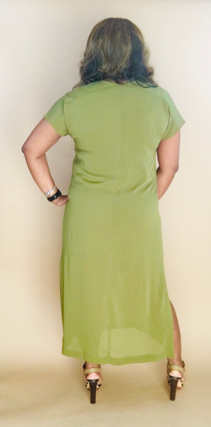 Minimalist Maxi Shift Dress (Olive)