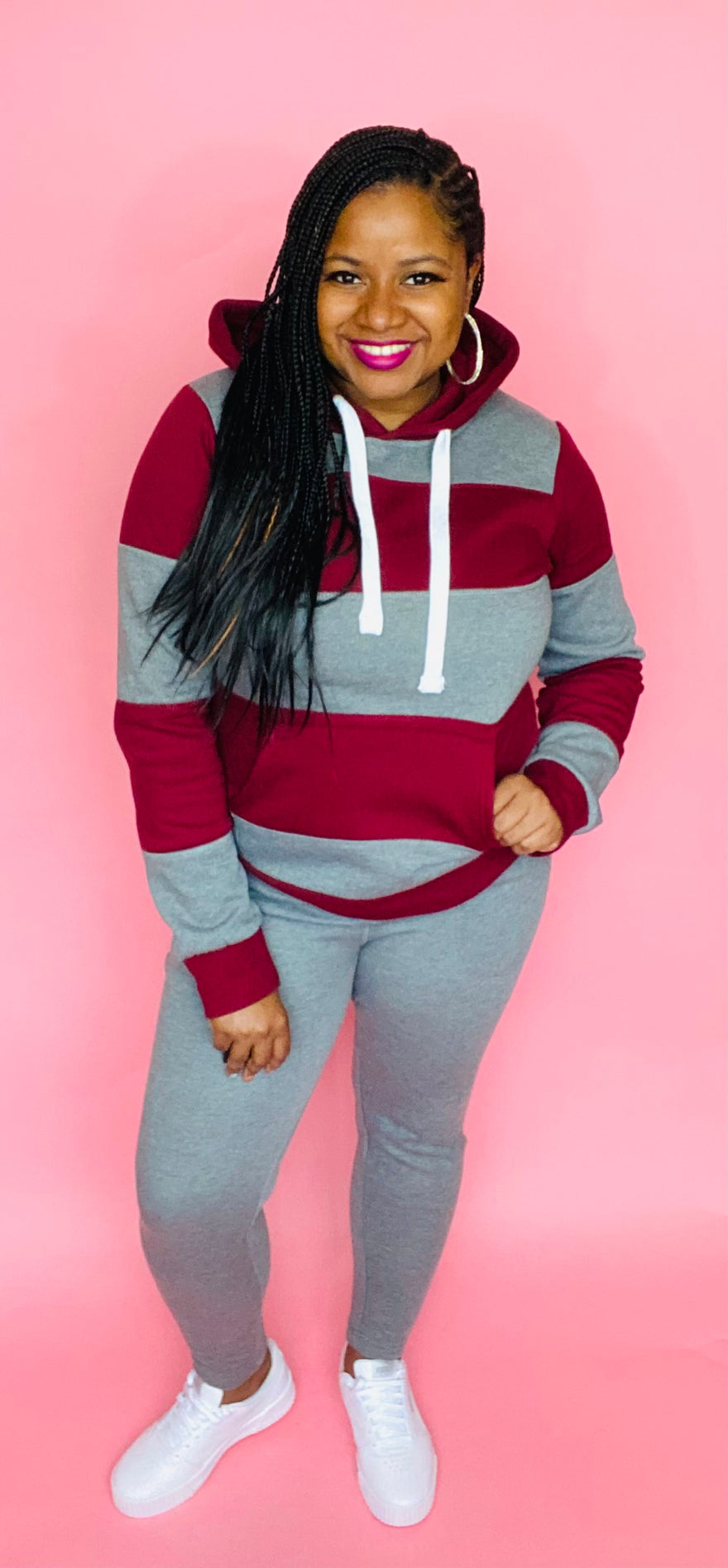 The Classic Striped Sweatsuit (Burgundy/Gray)