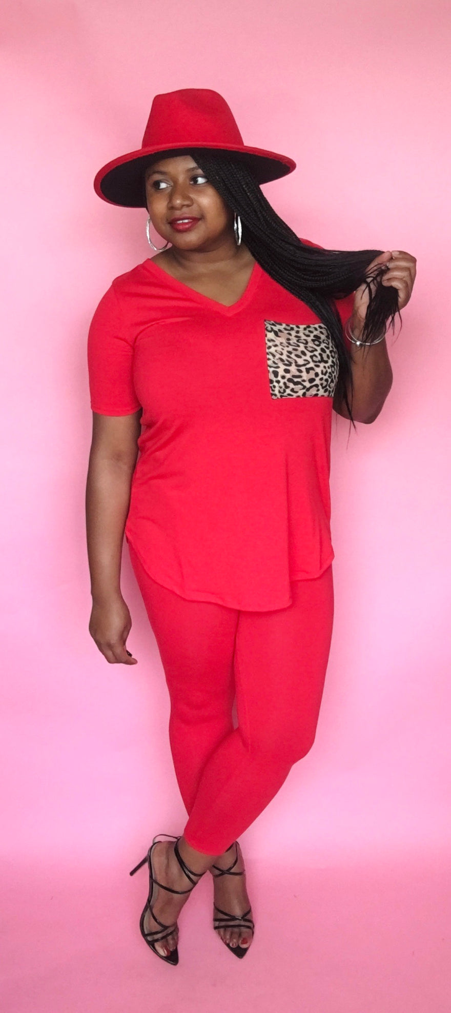 Leopard Pocket Legging Set (Ruby)
