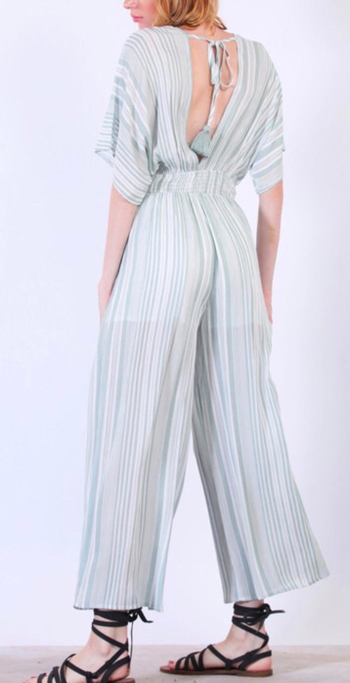 Mint Striped Jumpsuit