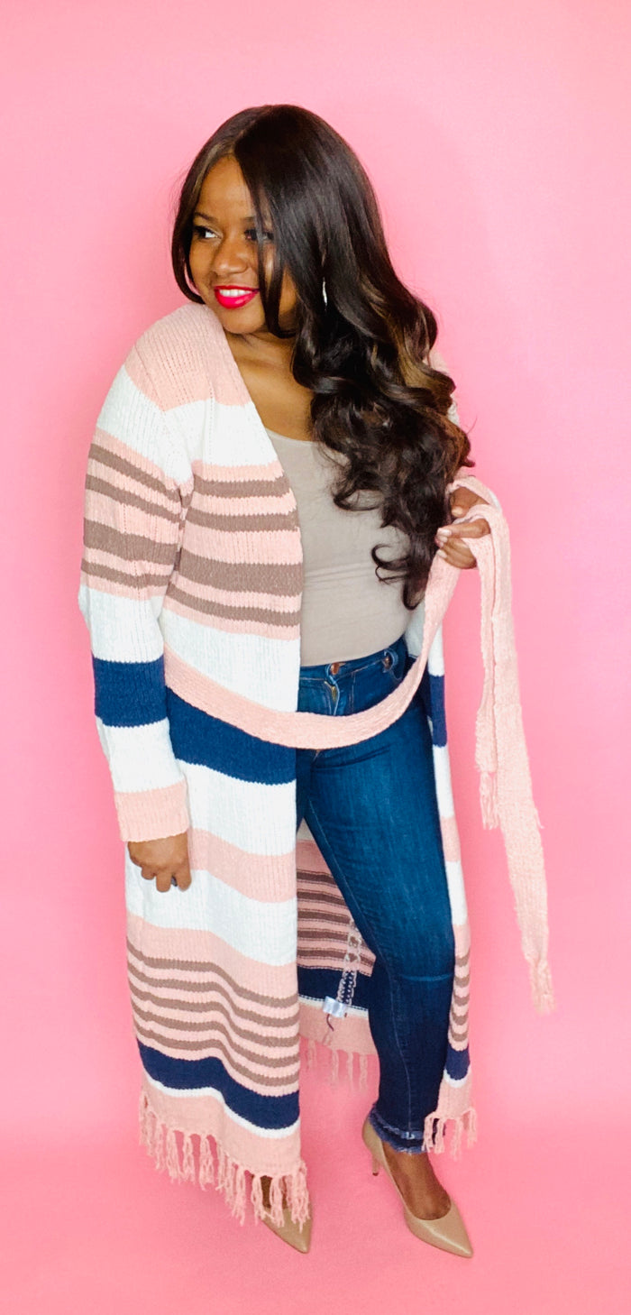 Blush Striped Duster Cardigan
