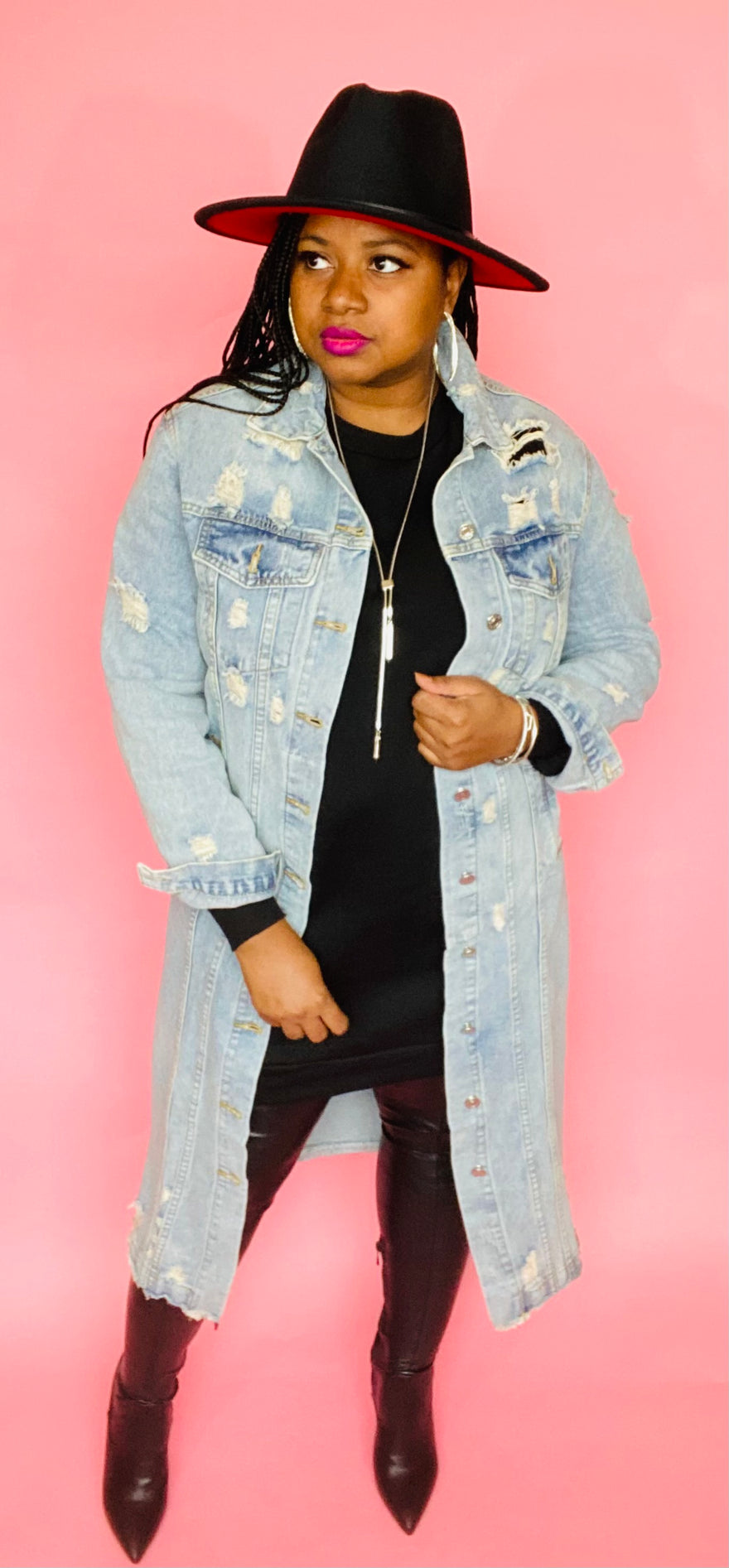 Distressed Denim Trench