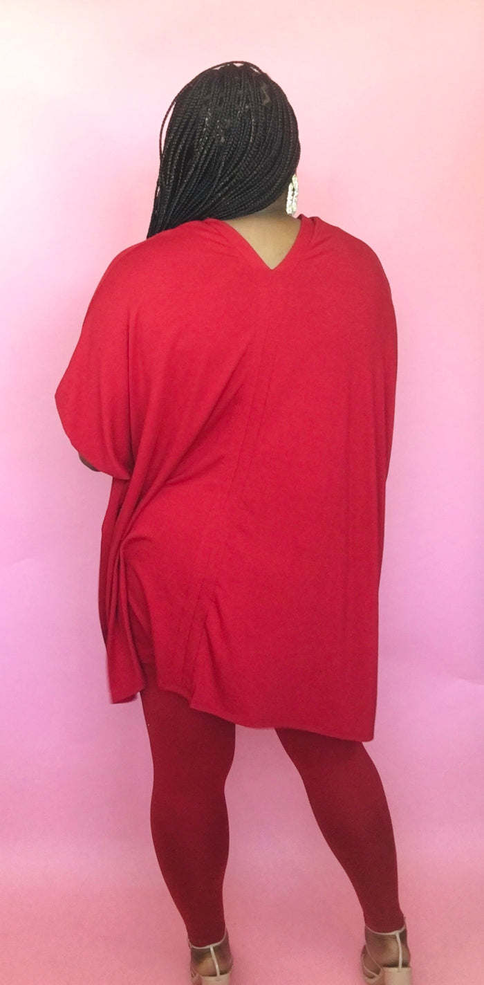 On the Go Poncho Set (Dark Red)