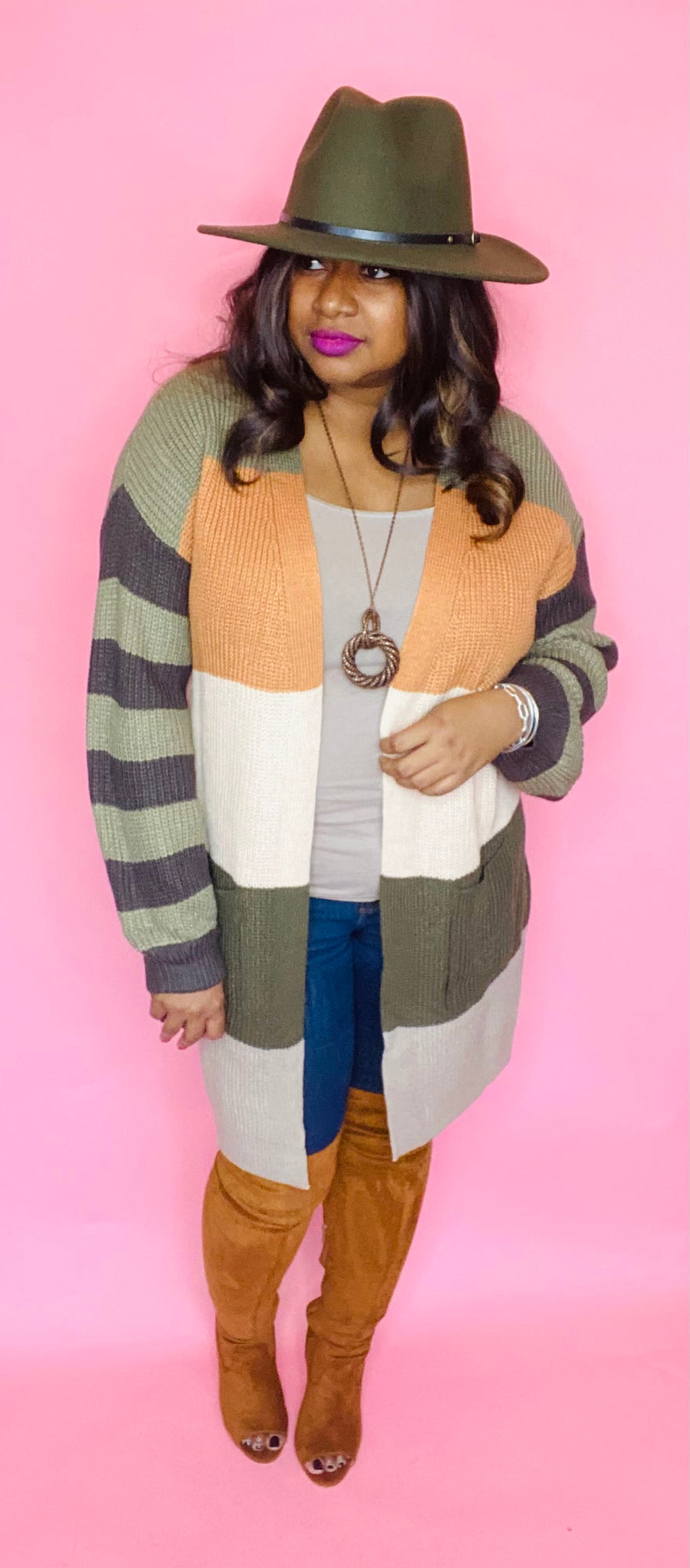 Over-Sized Chunky Striped Cardigan