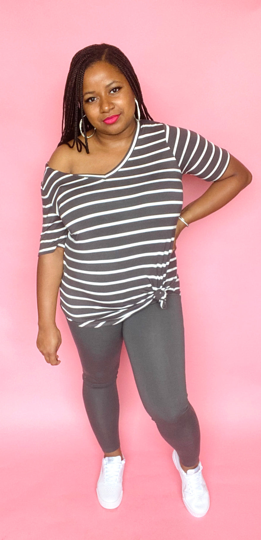 V-Neck Striped Tee Set (Ash Grey/Ivory)