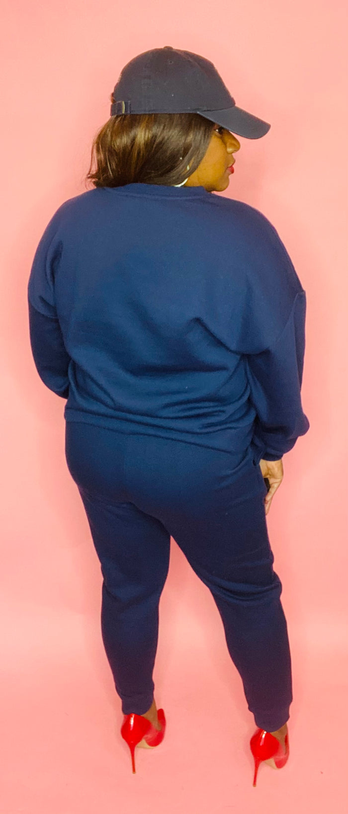 Crew-neck Sweat Set (Navy)