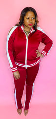 Cold Shoulder Tracksuit (Red/White)