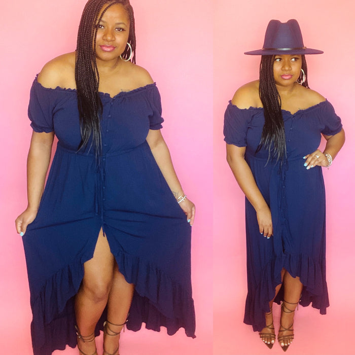 Brinkley High-Low Dress (Navy)