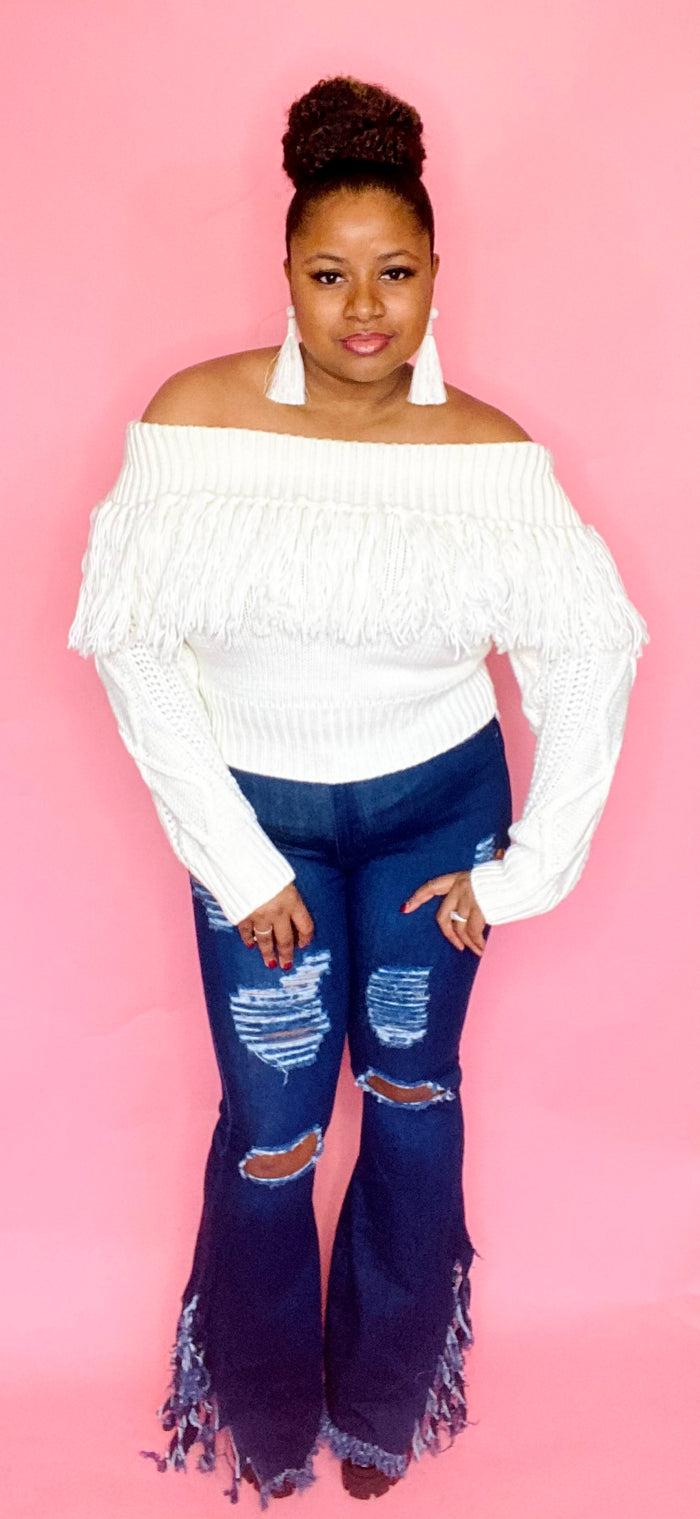 Fringe Off Shoulder Sweater (Cream)