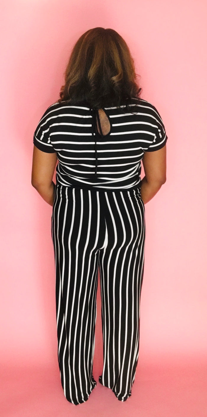 Stripe Me Down Jumpsuit (Black/Ivory)