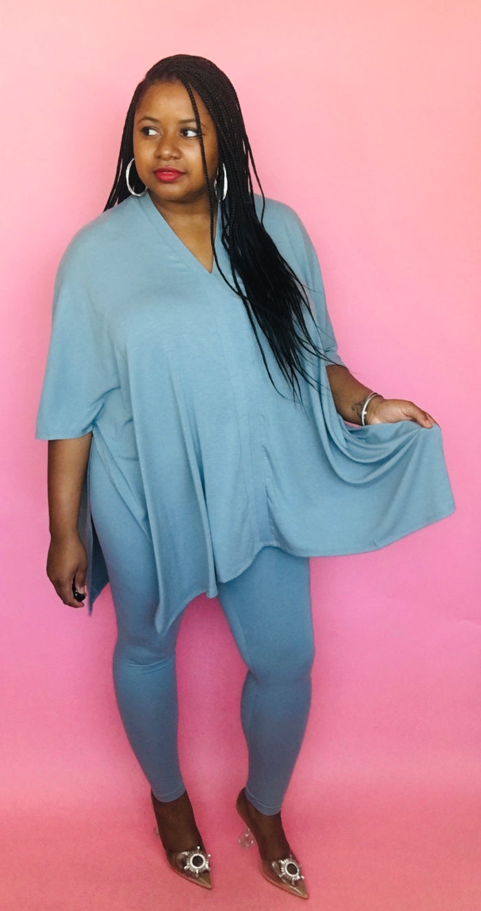 On the Go Poncho Set (Ice Blue)