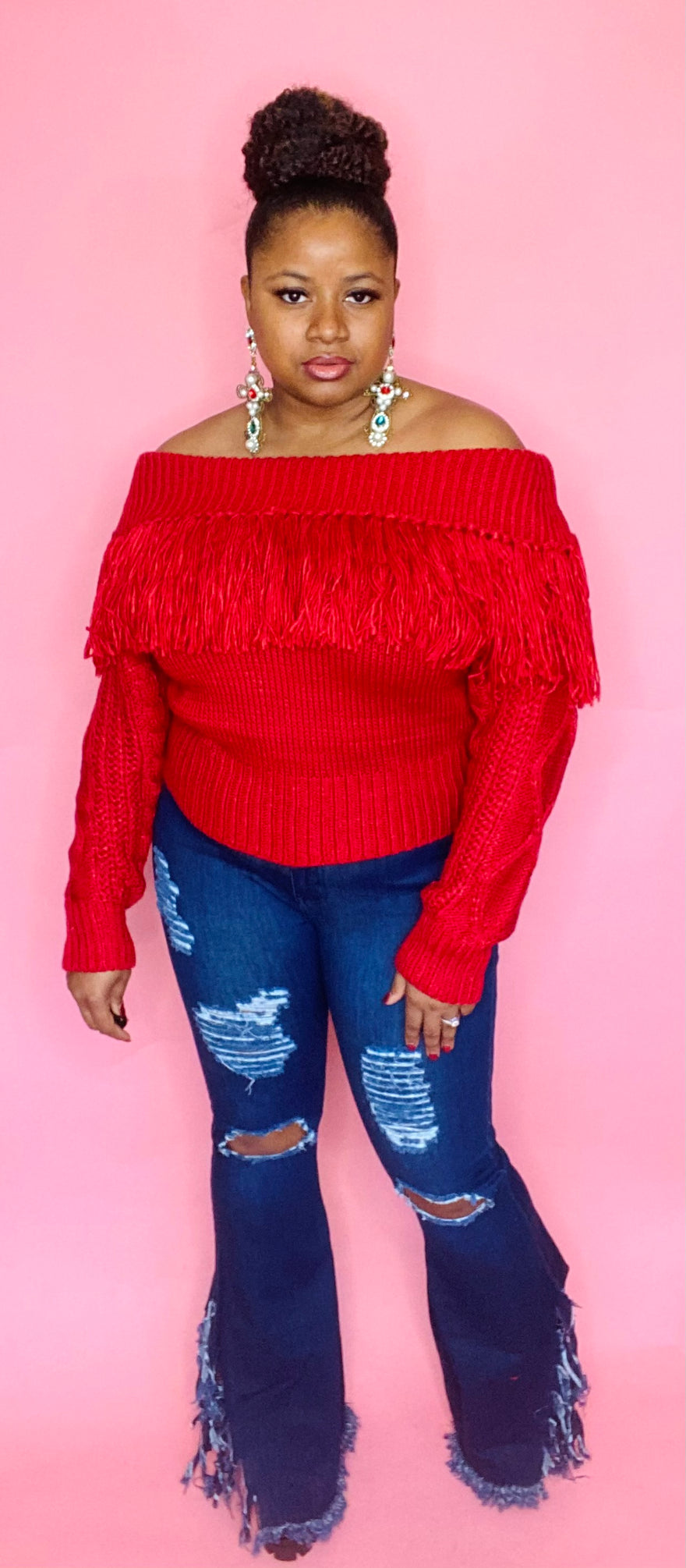 Fringe Off Shoulder Sweater (Dark Red)