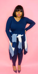 Striped Cardigan 3 Pc Set (Navy)