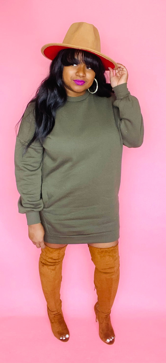 Sweatshirt Dress (Olive)