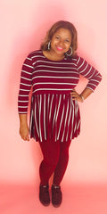 Babydoll 3/4 sleeve top (Burgundy)