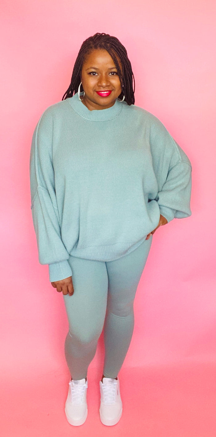 Cozy Sweater Set (Lt Green)