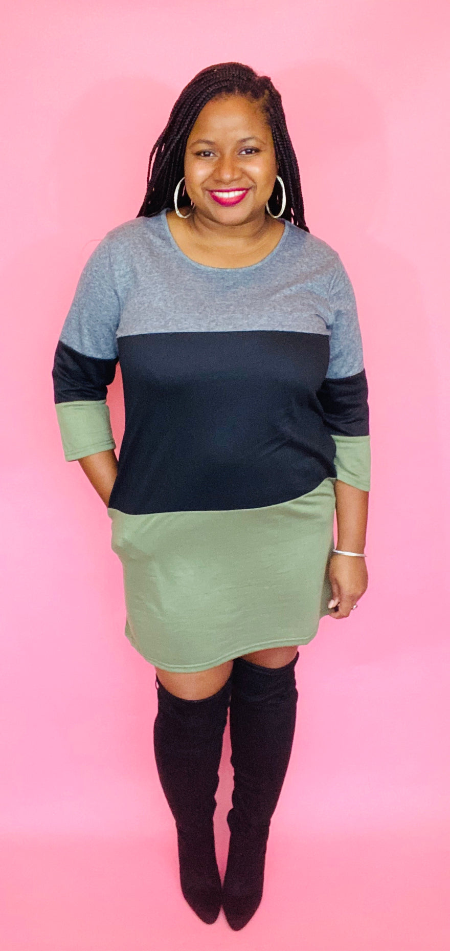 Color Block Dress (Olive)