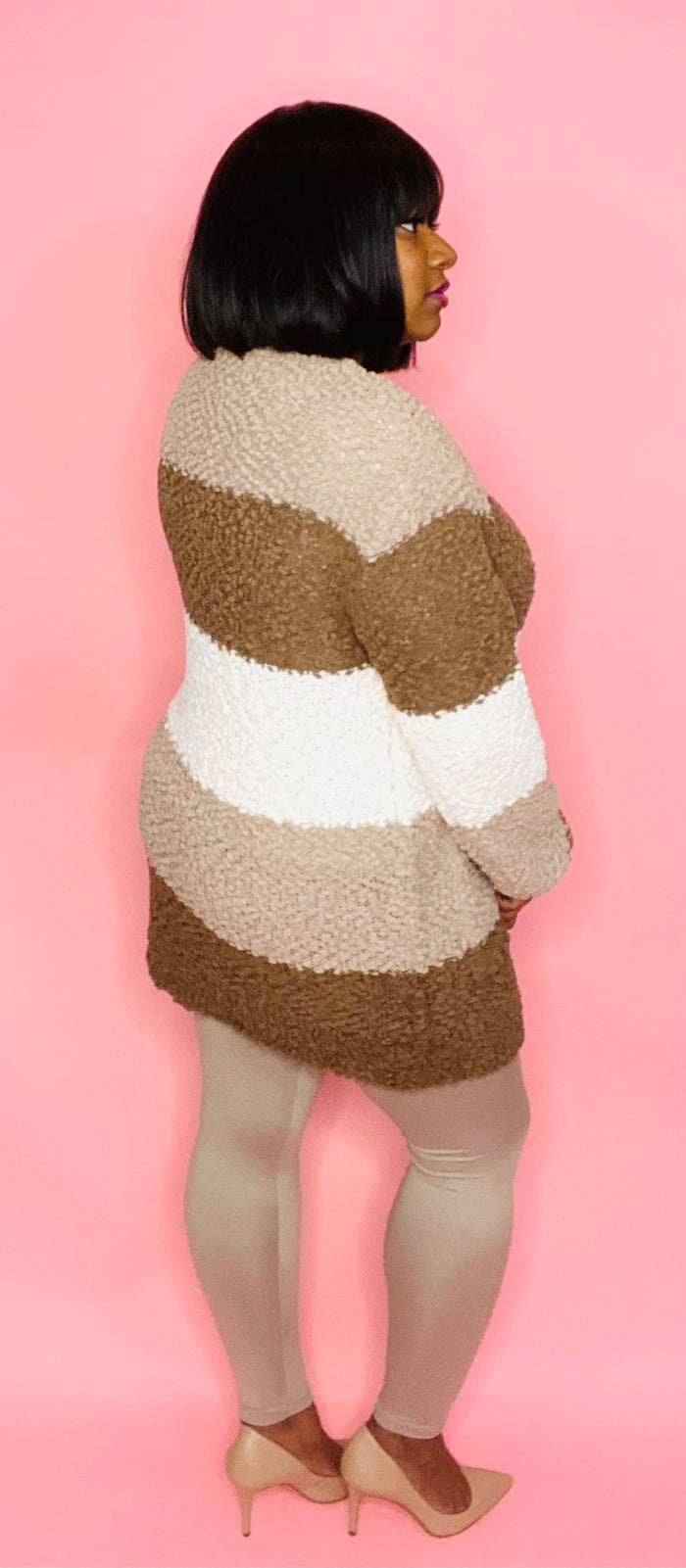 Striped Cardigan 3 Pc Set (Mocha)