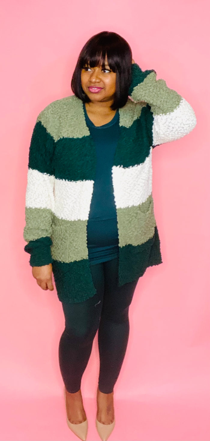 Striped Cardigan 3 Pc Set (Hunter Green)