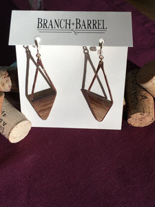 Oak Barrel Asymmetrical Diamond Earrings