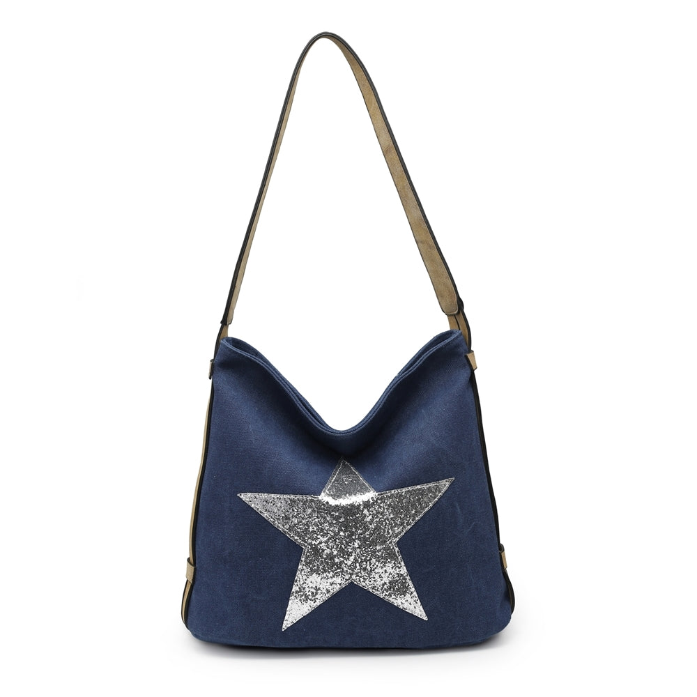 Blue glitter star shoulder bag