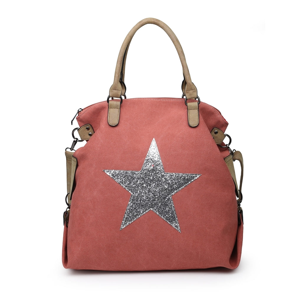 Dusky pink star bag with silver star - Large size