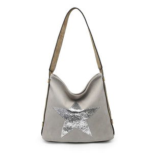 Grey glitter star shoulder bag