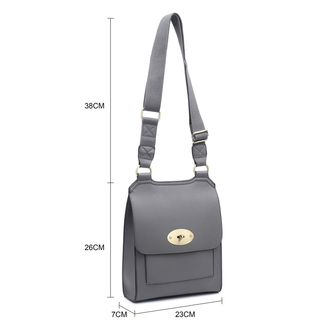 Grey cross over shoulder bag