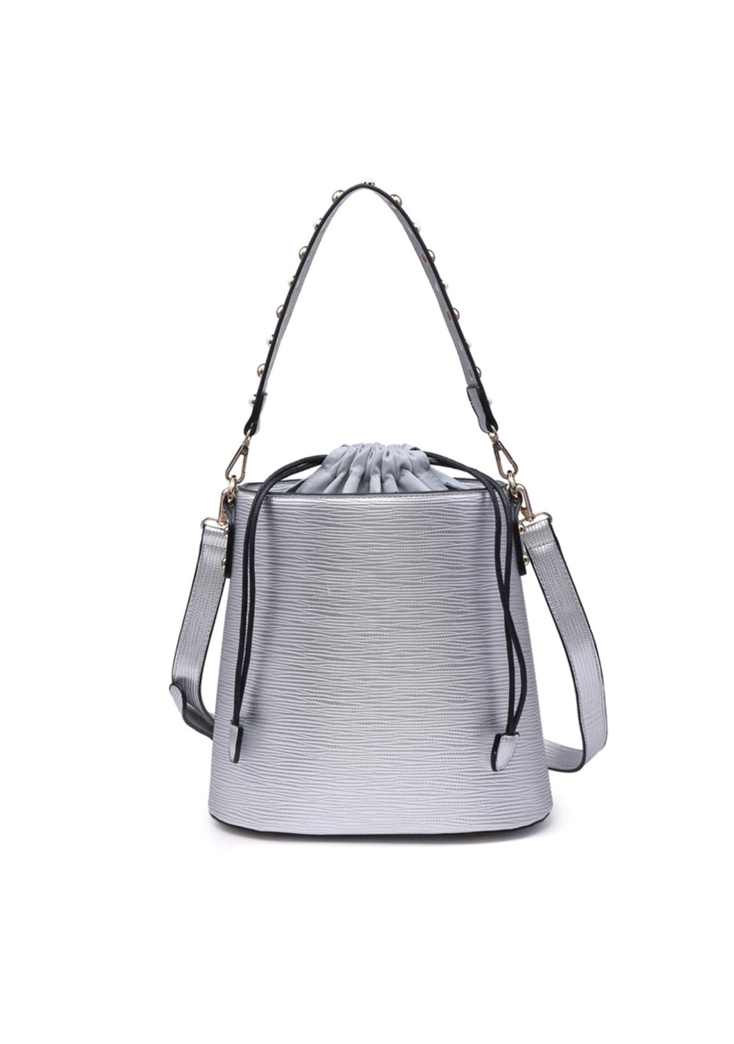 Silver shoulder bucket bag