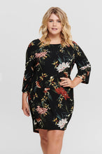 Load image into Gallery viewer, Black floral tunic dress