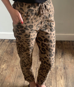 Camel animal print stretch trousers