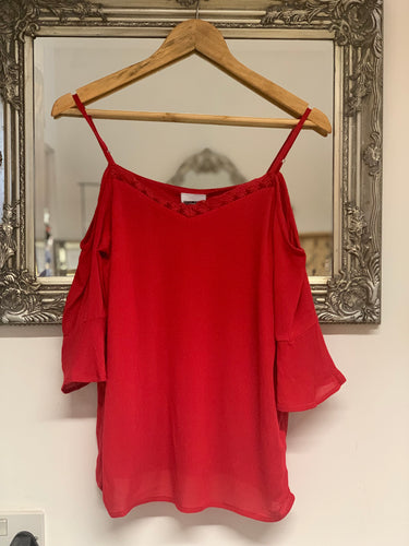 Red cold shoulder camisole