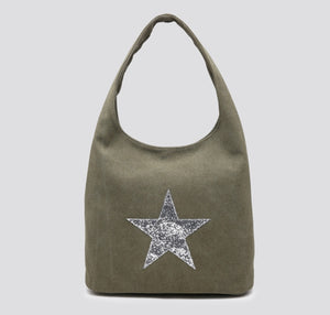 Khaki shoulder star bag
