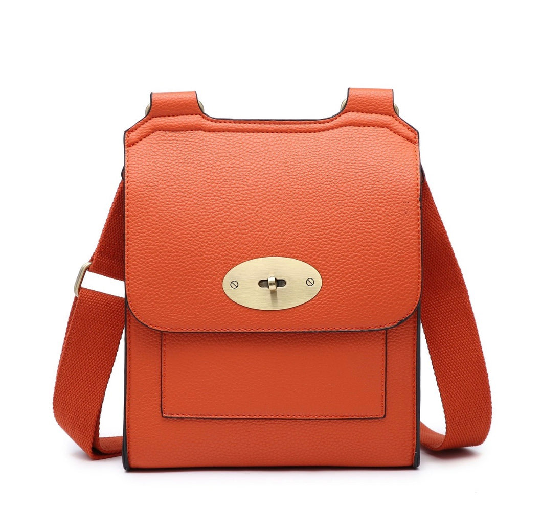Orange cross over shoulder bag