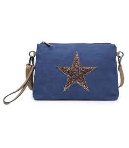 Navy glitter star clutch - shoulder strap included