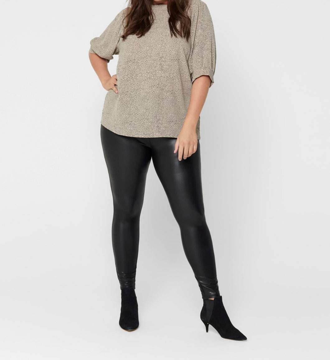 Coated shiny leggings - Curve Range