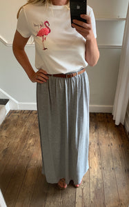 Grey maxi skirt with belt