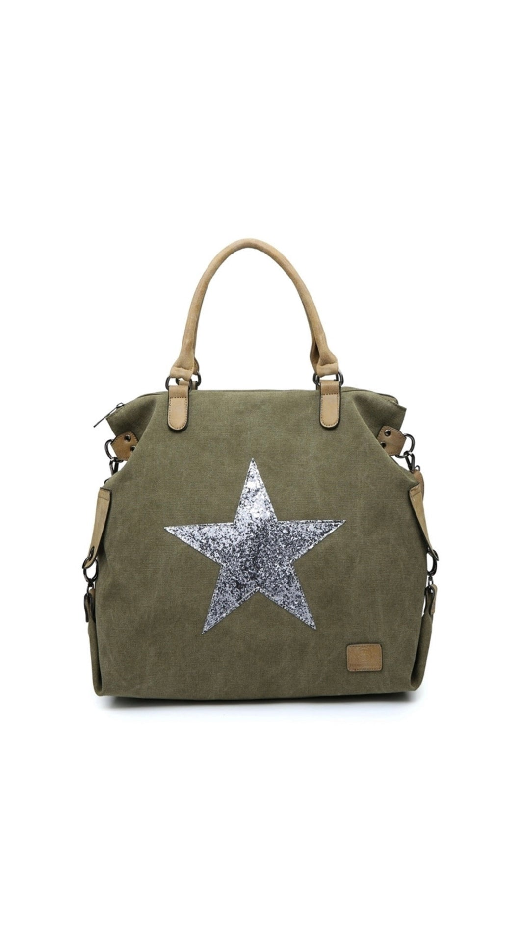Khaki green star bag with silver star - Large size