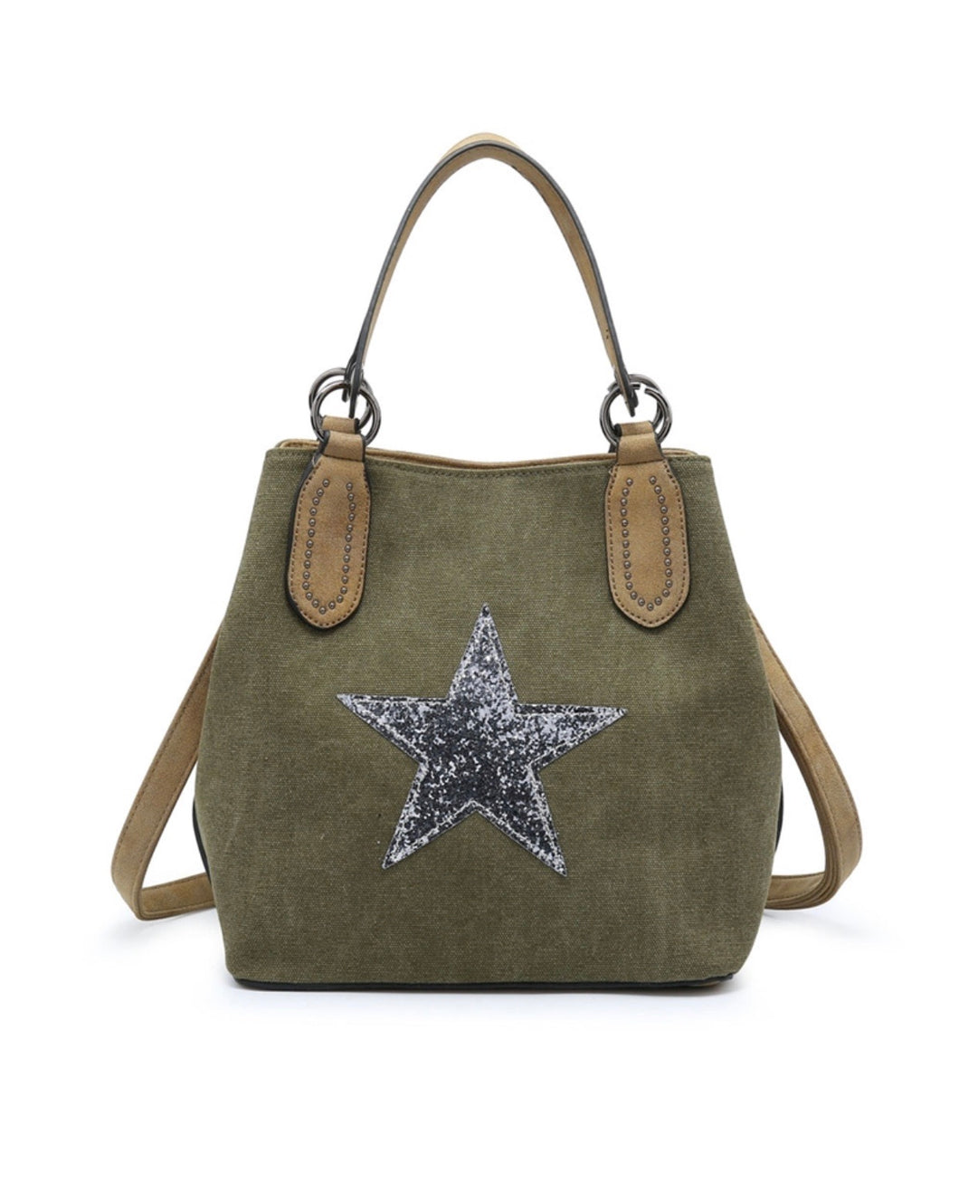Khaki bucket star bag with shoulder strap